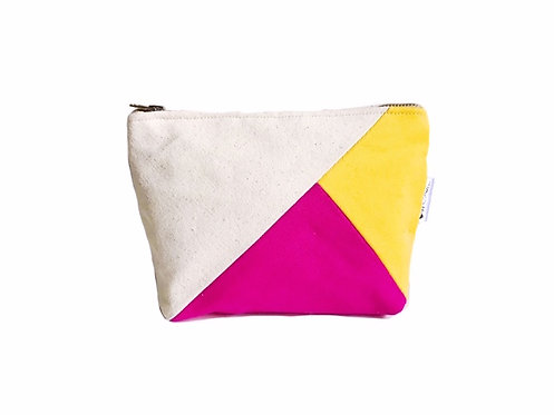 Colorblock Canvas Cosmetic Bag Yellow and Fuchsia