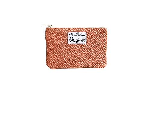 herringbone wool fabric coin purse