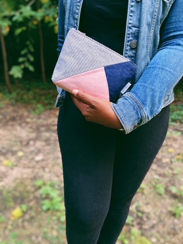 denim bag -blue and pink