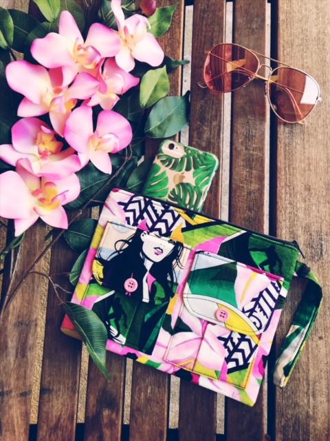 Handmade Wristlet - Surfer Girls Print - Pink Wallet