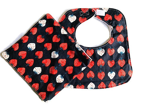 Strawberry Bib and Burp Cloth