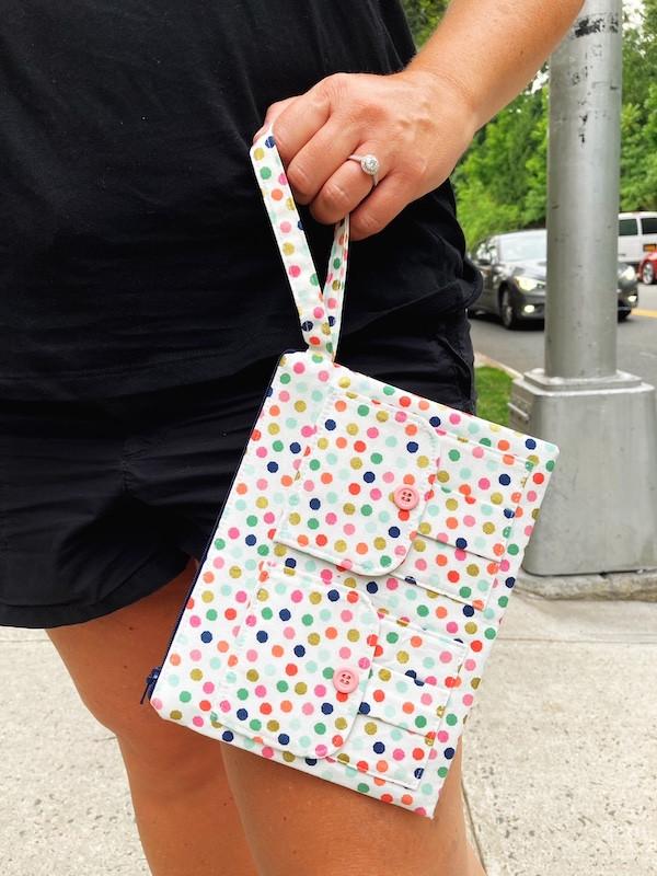 polka dot large wallet wristlet