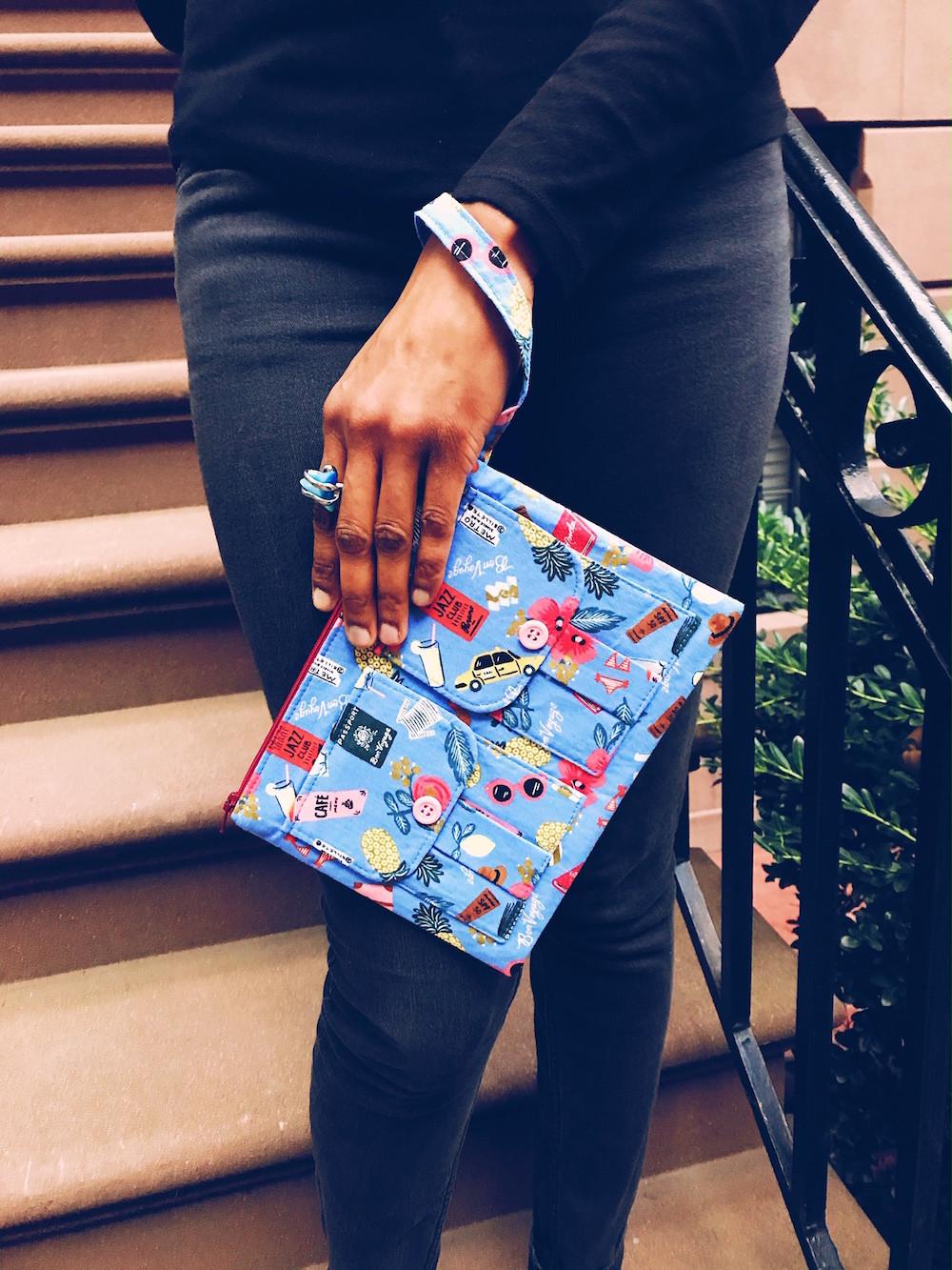 wristlet purse - bon-voyage-blue