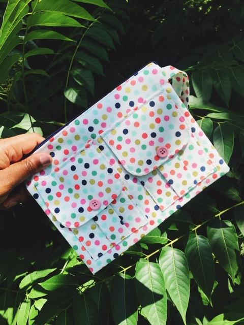 Wristlet Wallets - Polka Dot Print White Fabric