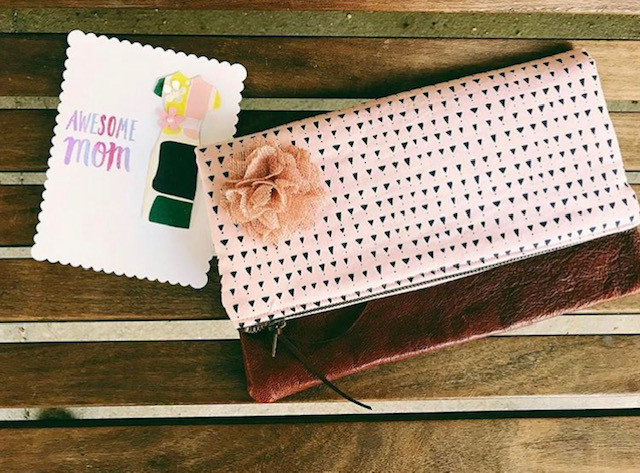Handmade Card Making - Leather Clutch Pink