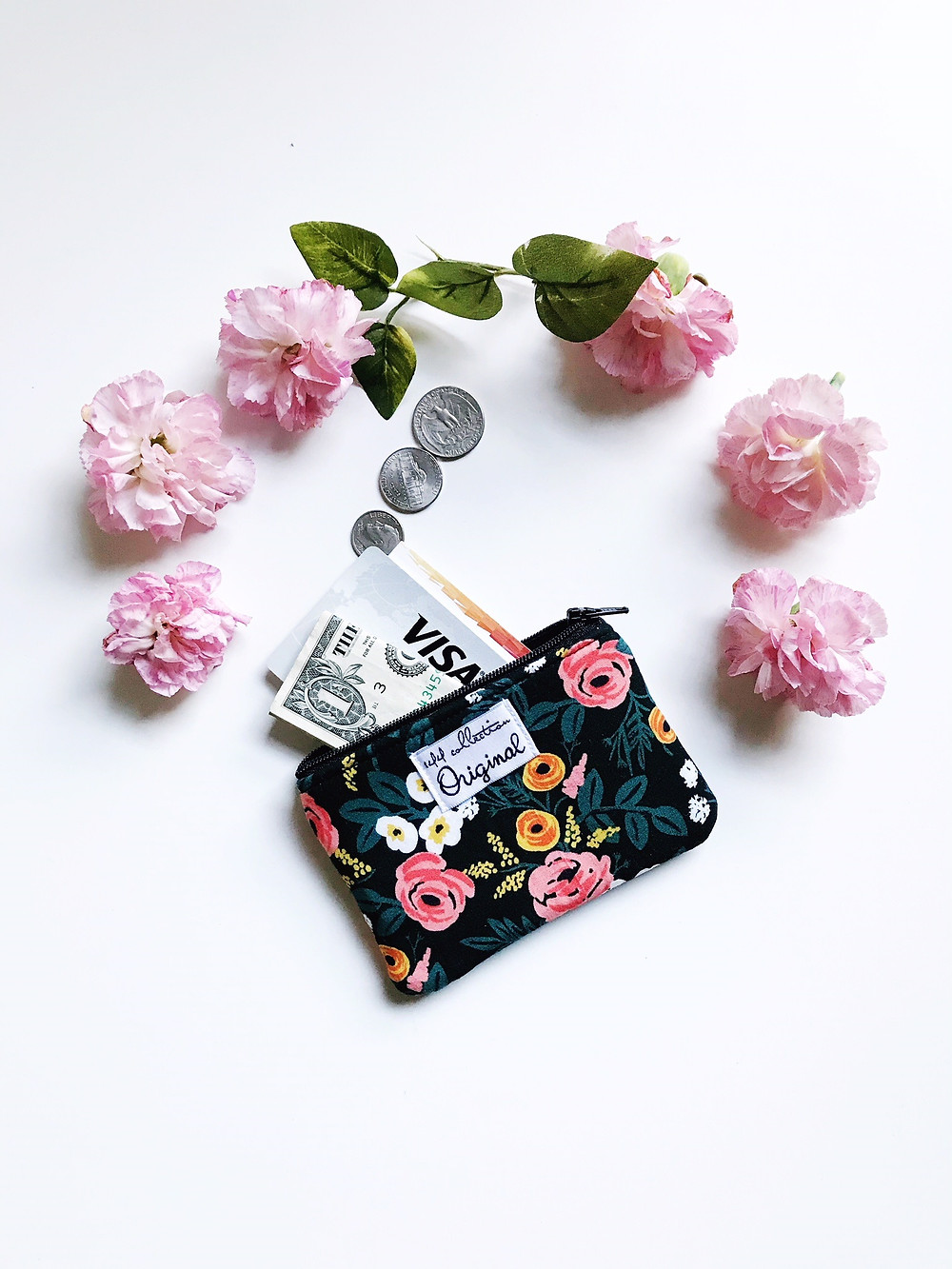 Cute Black Floral Coin Purse
