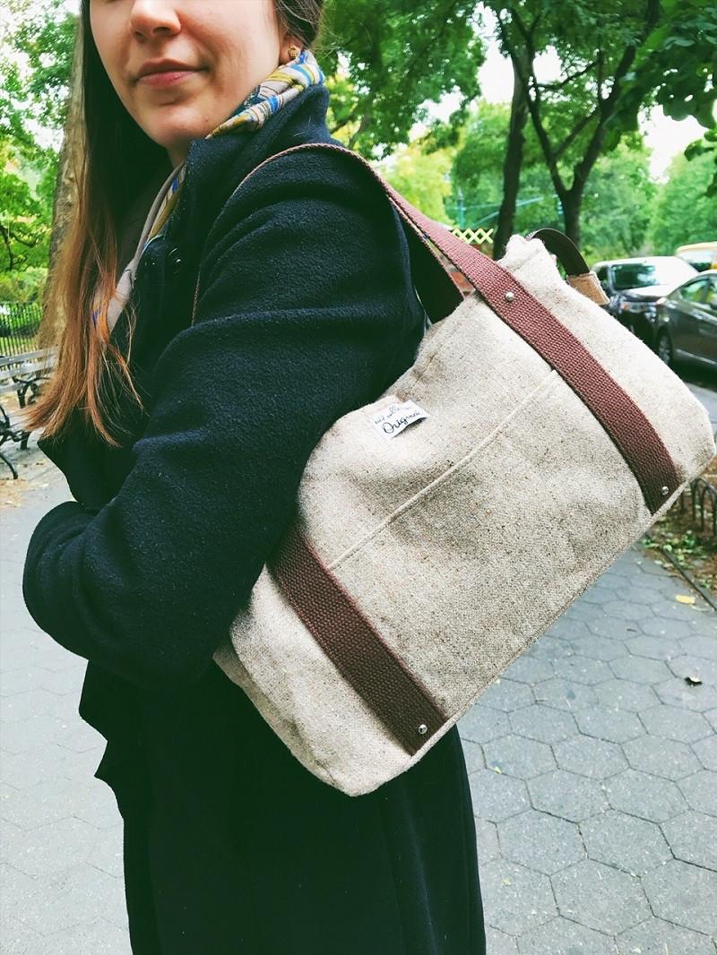 Handmade Handbags - Brown Wool Tote