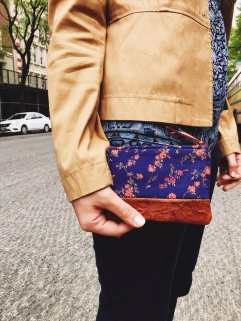 womens leather coin purse - blue floral print