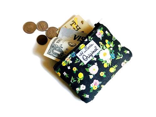 zipper change purse - lemon print