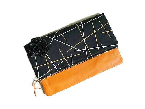 Black Fold Over Leather Clutch Bag