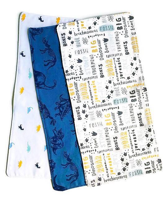 Baby Boy Burp Cloths - dinosaur print fabric