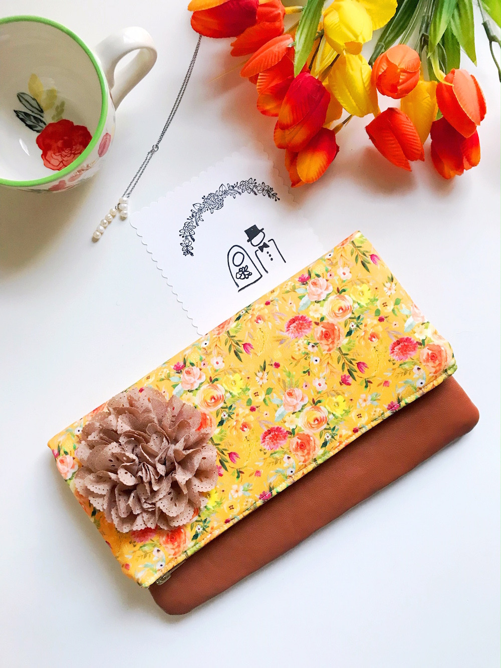 Floral Clutch Bags Yellow Print