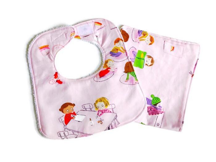 Handmade Baby Bibs and Burp Cloths - Children in School Print