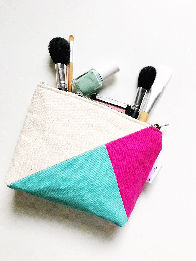 Color Block Bag - natural, fuchsia and aqua