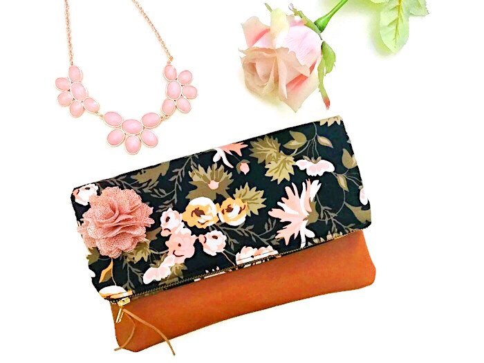 Foldover Clutch Bag - Black Floral Print