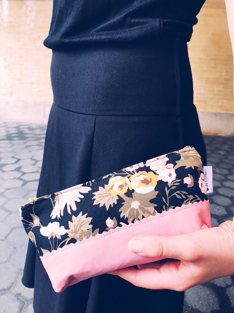 Leather Makeup Bag - Black and Pink Floral Print