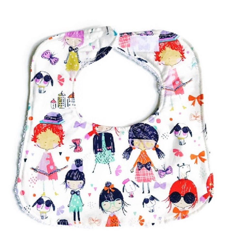 Baby Girl Bibs - School Days Girl Print - Handmade Bibs