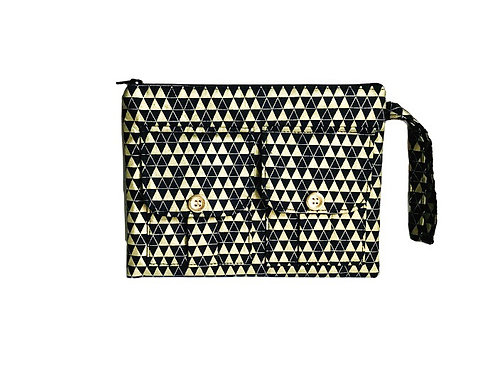 Handmade Wristlet - Triangles metallic gold print