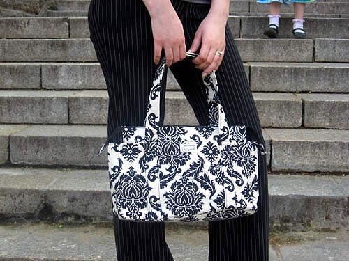 Black and White Damask Shoulder Bag
