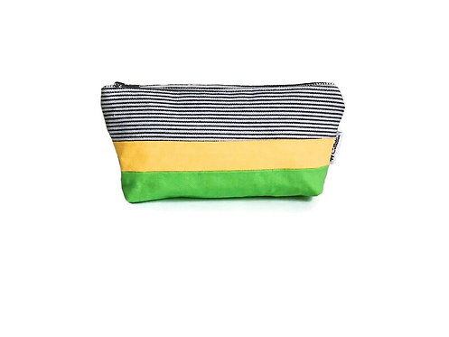 Yellow and Green Canvas Pouch