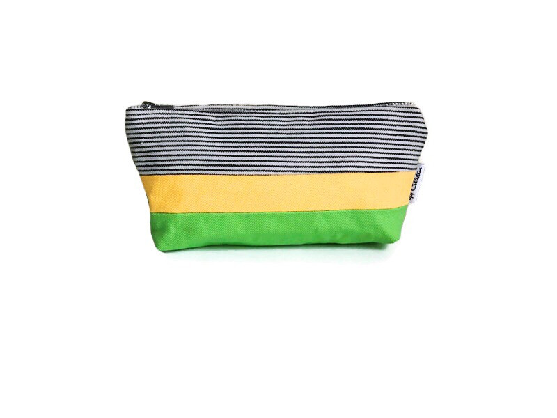 Canvas Zipper Pouch - Striped Blue, Yellow and Green