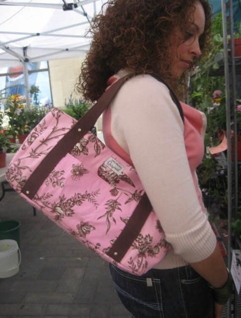 Handmade Tote Bag - Pink and Brown Bird Print