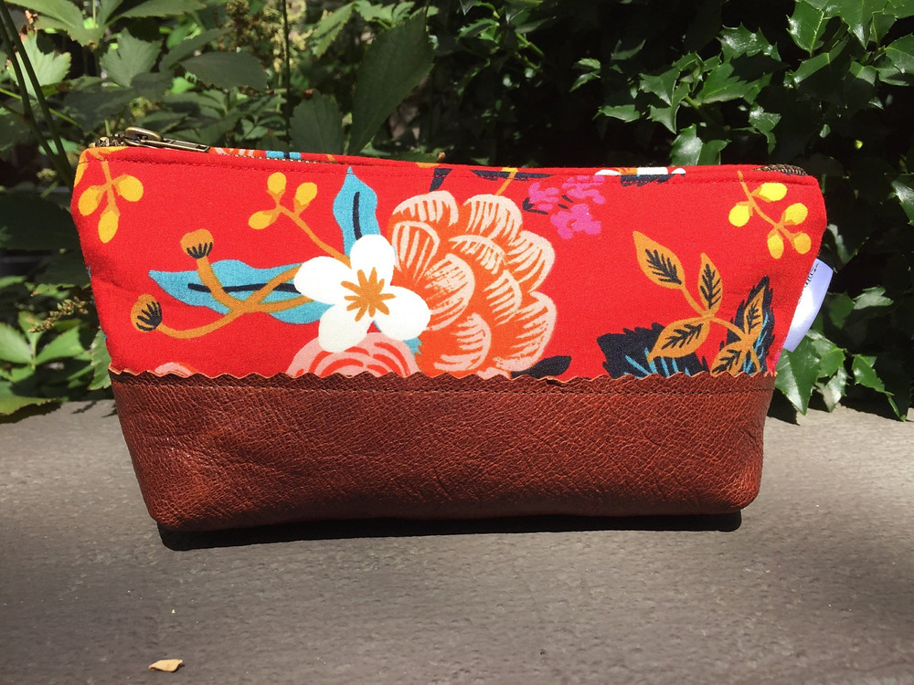 Leather Makeup Bag - Red Floral Print
