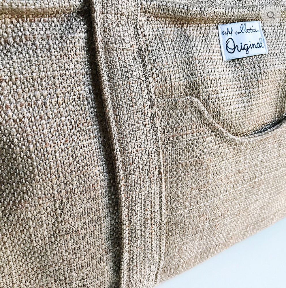 Handmade Shoulder Bag - Tan color closeup of fabric