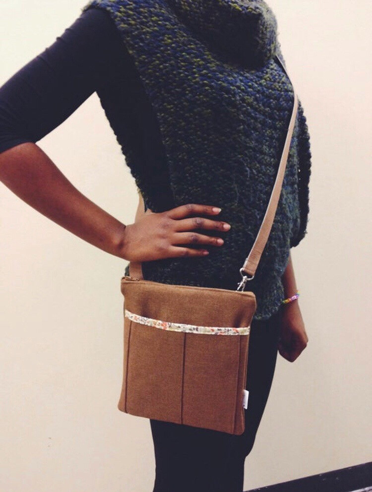 handmade crossbody bag - brown with floral accent