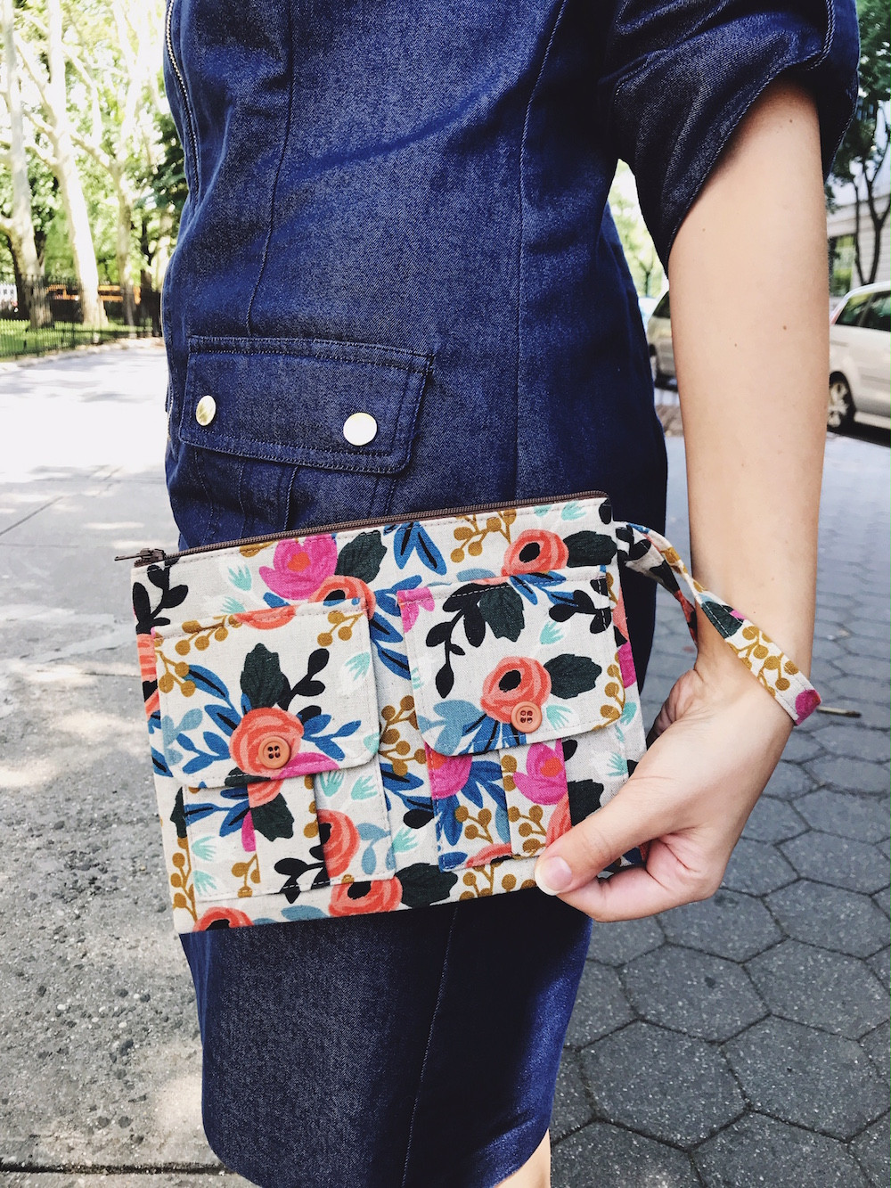 wristlet purse - floral print