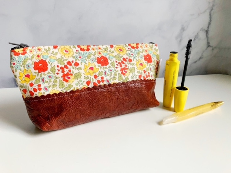 floral print leather handbags - daylily small leather pouch