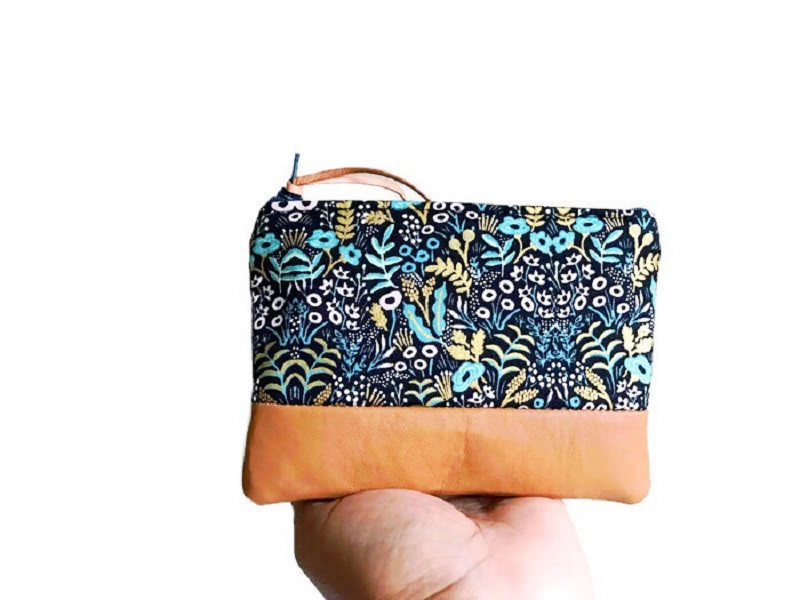 American Made Wallets - Black Floral Leather Coin Wallet