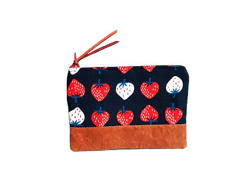 Strawberry Red Brown Leather Coin Purse