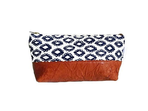 Woodblock Navy Blue Leather Makeup Bag