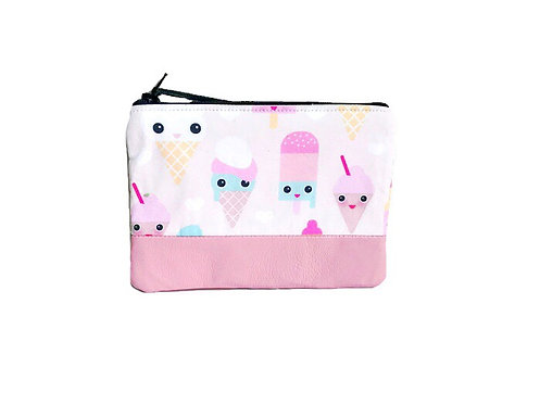 Leather Coin Purse - Ice Cream Print Pink