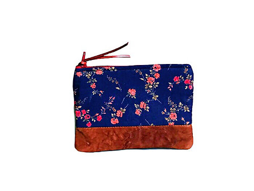 Women's Coin Purse - Blue Coin Pouch - Brown Leather