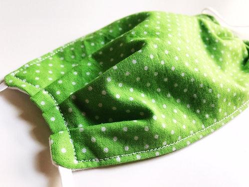 fabric-face-mask-green-polka-dot-print