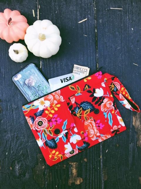 Red Smartphone Wristlet Wallet
