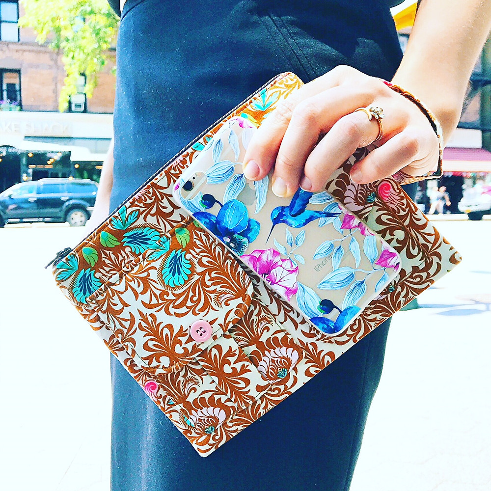 iphone wristlet - brown floral print