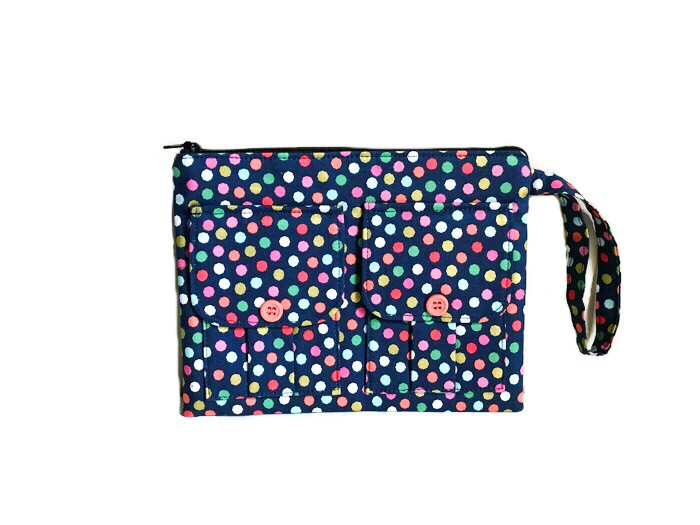 Wristlet Wallet - Blue with Polka Dots