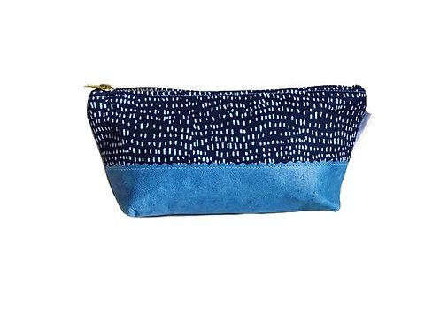Handmade Bag - Dashes Blue Leather Makeup Bag