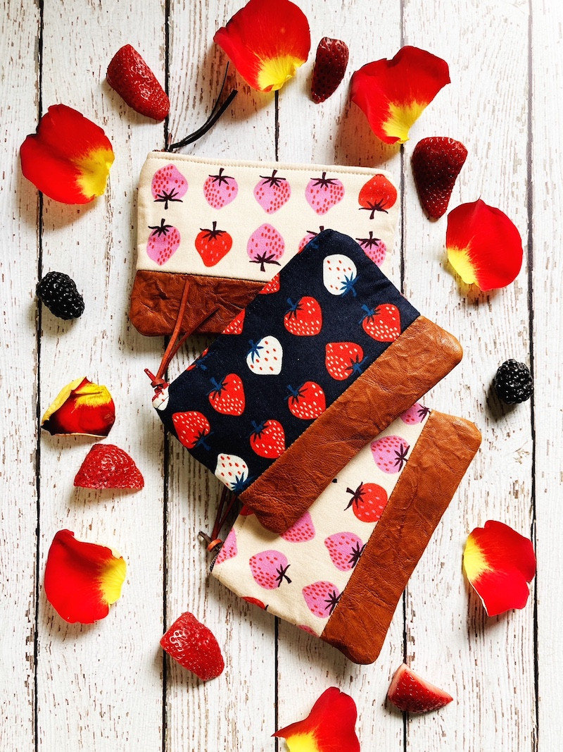 strawberry print - handmade leather coin purses