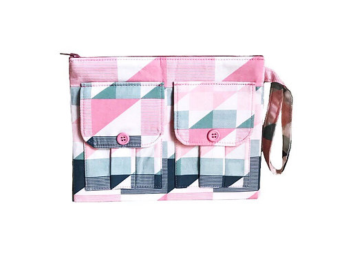 Handmade Wristlet - Pink Abstract Triangles Print