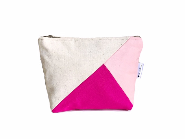 Color Block Bag - pink and fuchsia canvas