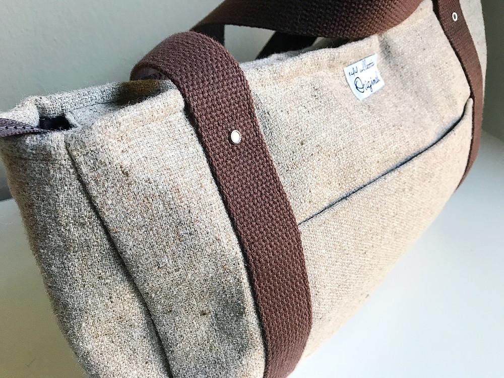 Handmade Handbags - Brown Wool Tote Bag Close up View