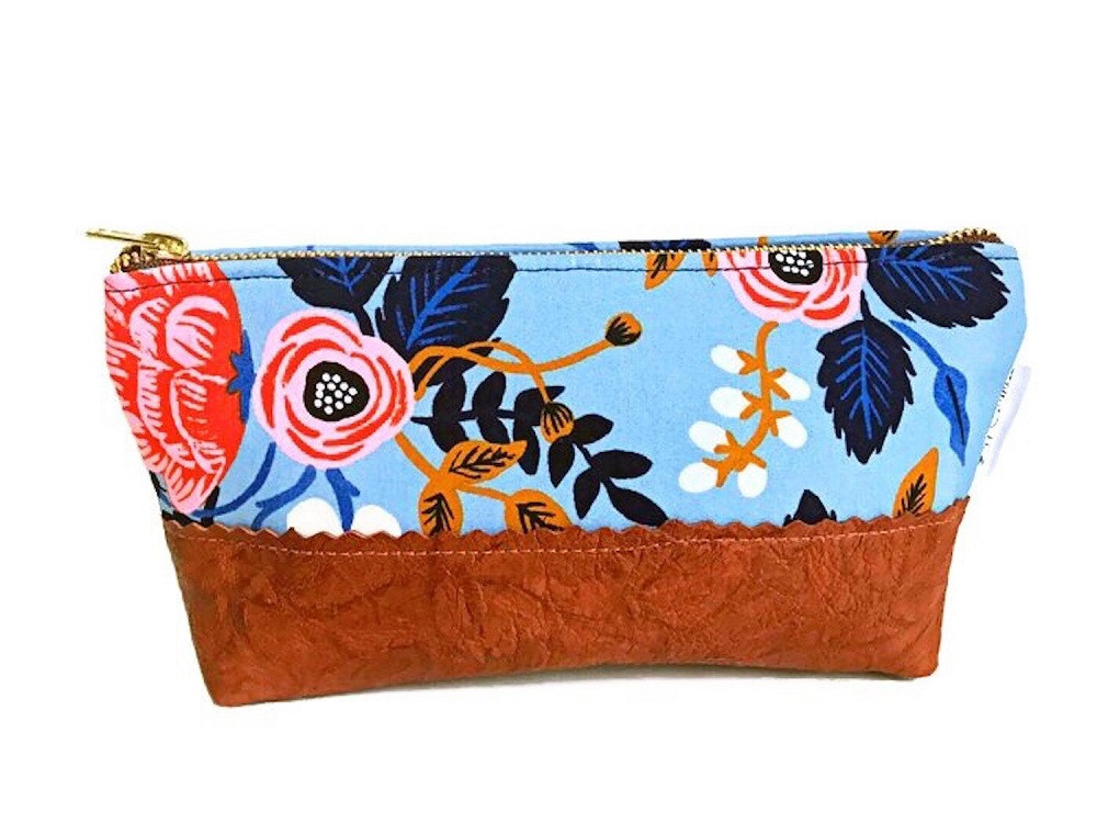 Floral Makeup Bag - Blue and Pink with Brown Leather Accent