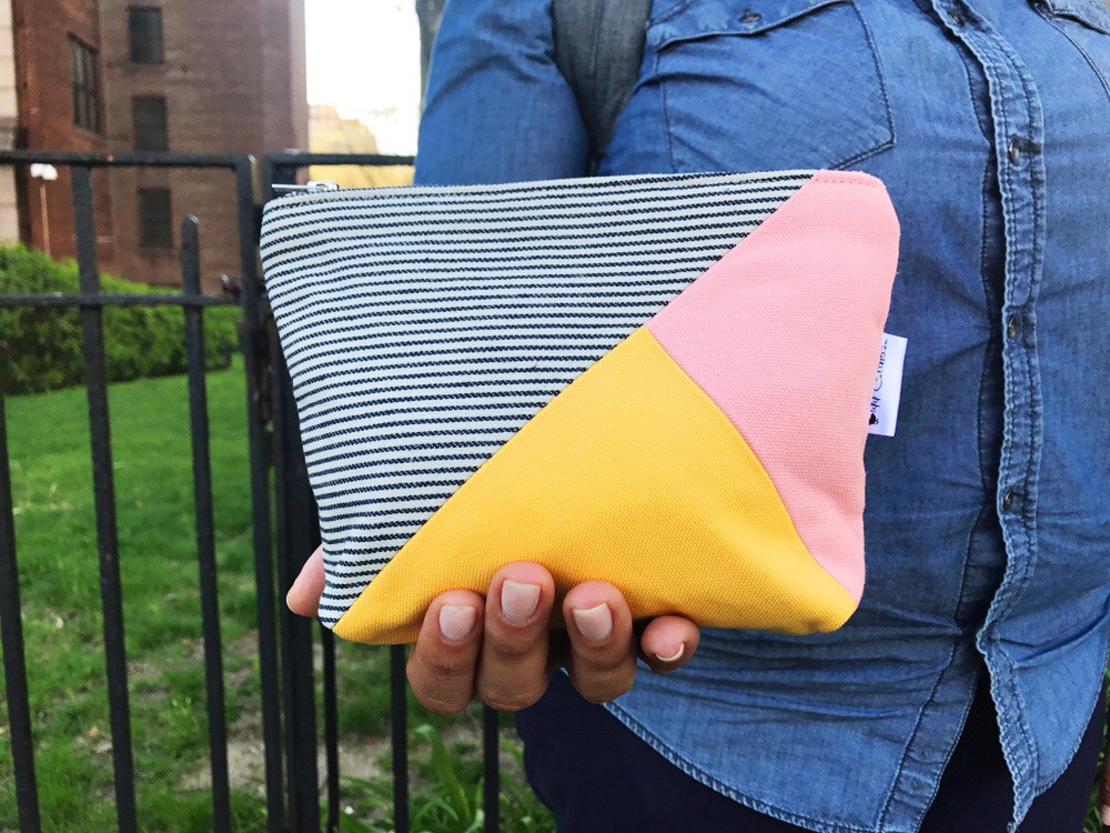 Back to College Shopping - Pink and Yellow Canvas Zipper Pouch