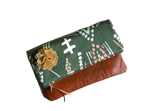 Green Fold Over Leather Clutch