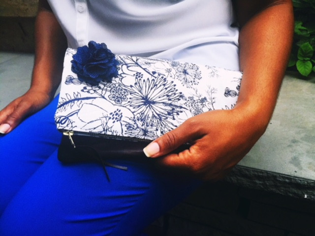 Summer Clutch Bags- White and Blue Floral Print