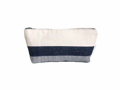 Canvas Zipper Pouch- Blue Print